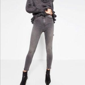 Zara High Waist Skinny Jeans Gray 6